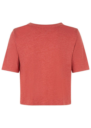 Girls Red Cropped T-shirt With Front Knot - Back