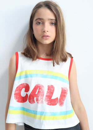 Youth Girls White Cali Tank Top Model Front