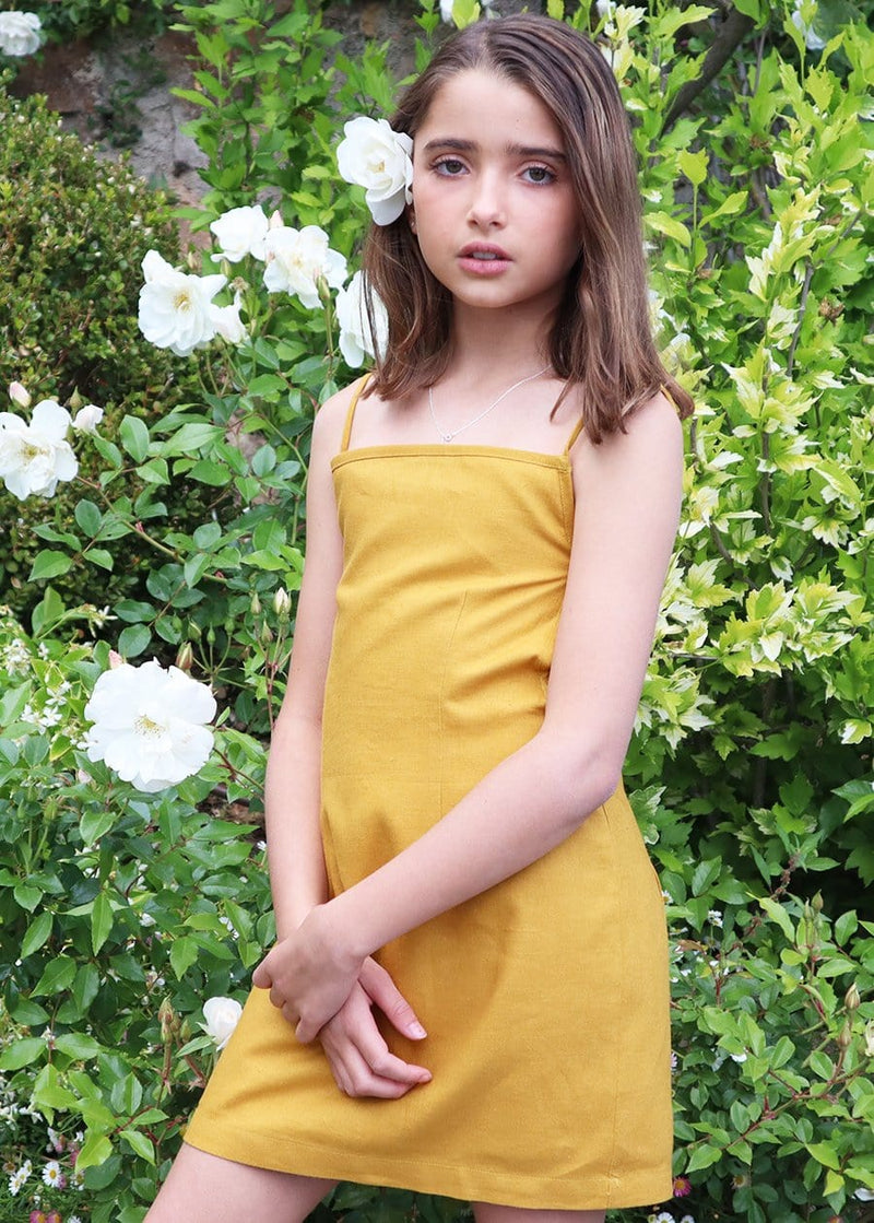 Youth Girls 80's Gold Tie Back Dress
