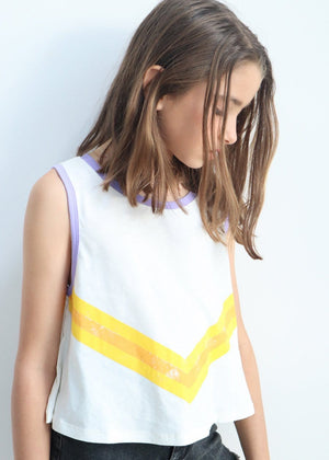 Youth Girls Taupe Beige Retro Stripe Tank Top Model Front