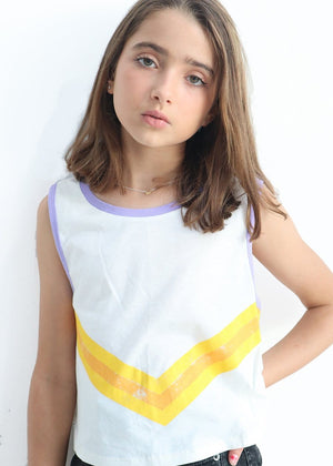 Youth Girls Taupe Beige Retro Stripe Tank Top Model Back