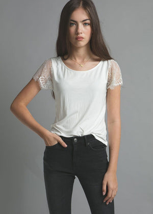 Girls White Tank with Lace Sleeves-Model Front