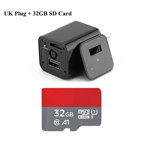 Image of Hd 1080P Hidden Camera Usb Wall Charger Wireless Home Security Covert Camcorder Adapter Support Max 32Gb Tf Card (Not Included Sd Card) - Uk