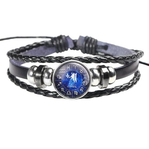 Twelve Constellation Leather Bracelet - B - Bijoux