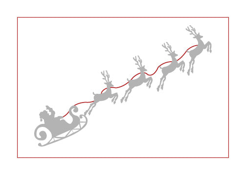 Card - Santa's Reindeer Note Card (Silver & Red) - HartFelt Keepsakes
