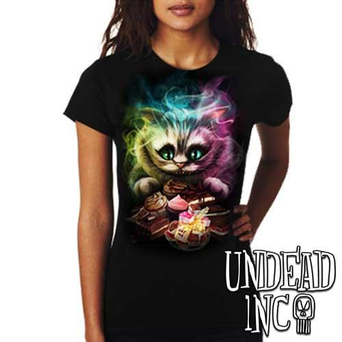 Alice In Wonderland Cheshire Cat  - Ladies T Shirt - Undead Inc Ladies T-shirts,