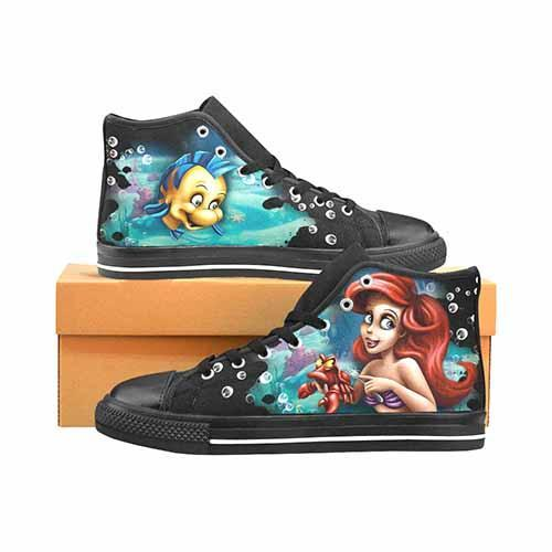 Ariel Little Mermaid Women's Classic High Top Canvas Shoes
