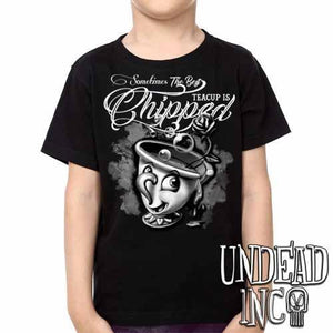 Beauty and the Beast Chip Teacup - Kids Unisex Girls and Boys T shirt Clothing Black & Grey - Undead Inc Kids T-shirts,