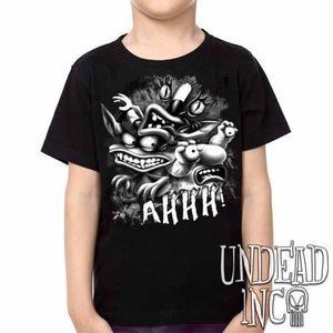AHH! Real Monsters Black & Grey Kids Unisex Girls and Boys T shirt Clothing - Undead Inc Kids T-shirts,