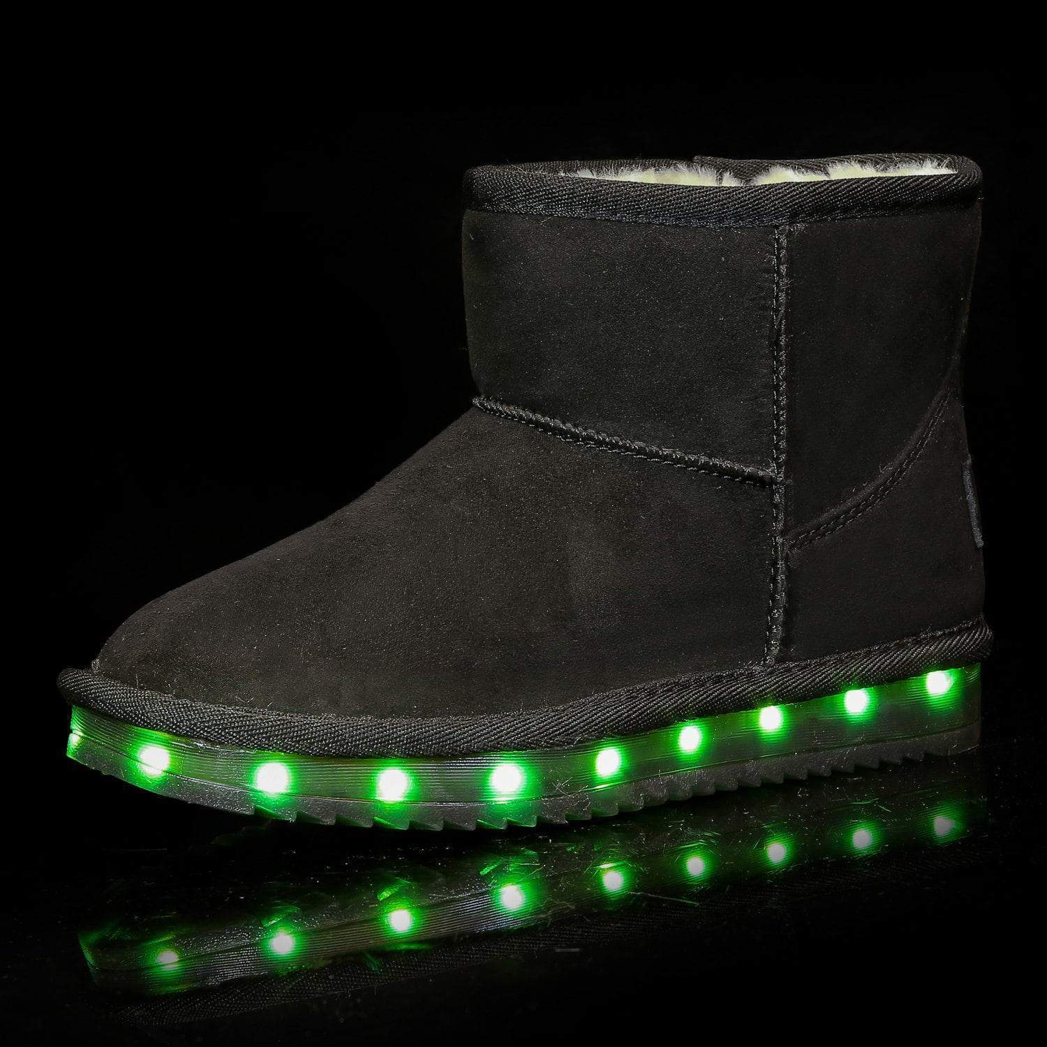 Flashez LED Footwear - Flash Wear LED Black Mini Boots