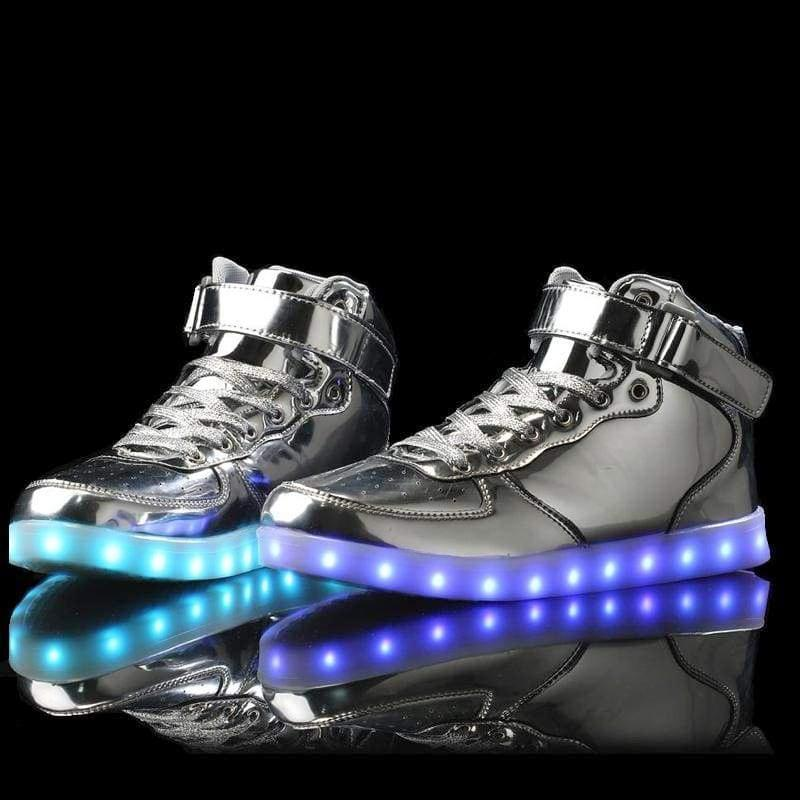 LED Shoes - Flashez - Silver High Top LED Trainers