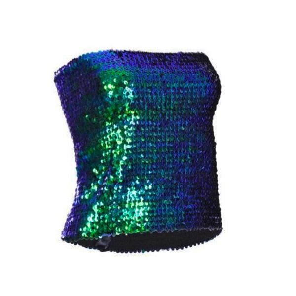 Sequin - Green Sequin Strapless Top