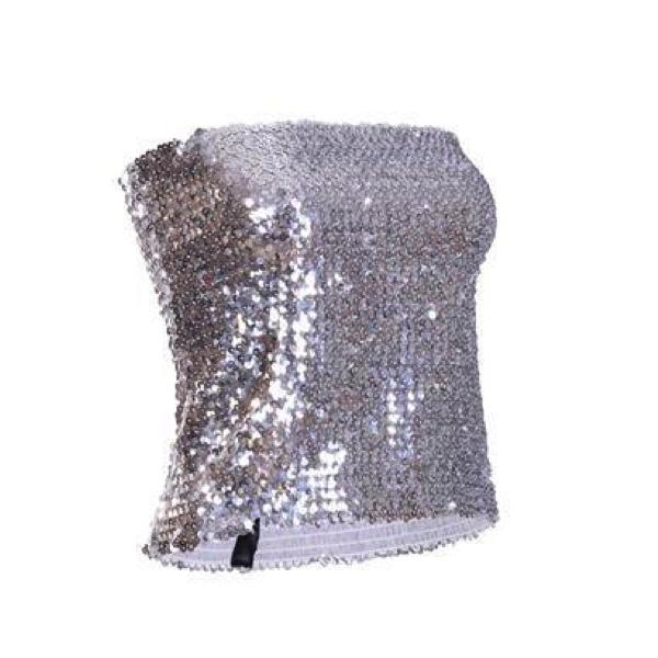 Sequin - Silver Sequin Strapless Top