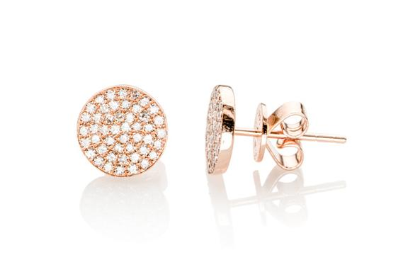 Diamond Disc Stud Earring