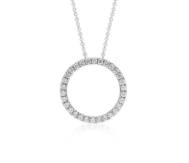 Diamond Pendant Circle - 14k White Gold (2 ct tw)