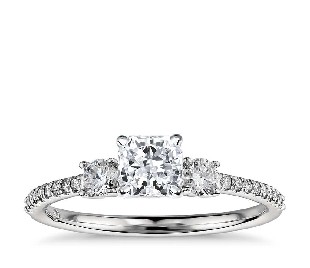 Engagement Ring - Pave Three Stone Radiant Cut