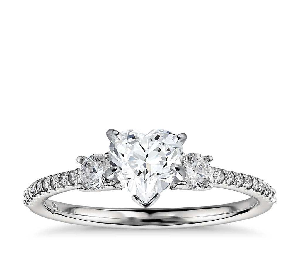 Engagement Ring - Pave Three Stone Heart Cut