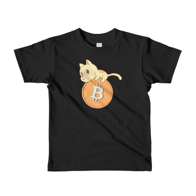 Pets In Tech Black / 2yrs Bitcoin Cat - Short sleeve kids t-shirt