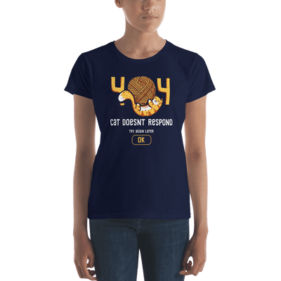 Pets In Tech Navy / S 404 Cat Doesn't Respond - Women's short sleeve t-shirt