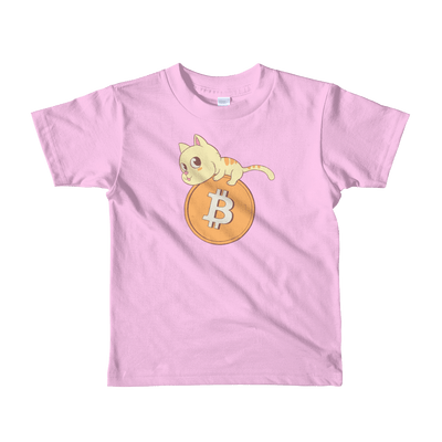 Pets In Tech Pink / 2yrs Bitcoin Cat - Short sleeve kids t-shirt