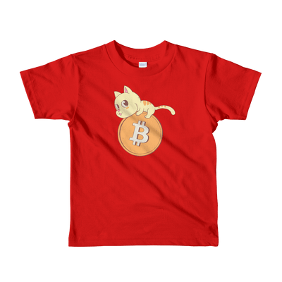 Pets In Tech Red / 2yrs Bitcoin Cat - Short sleeve kids t-shirt