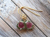 Watermelon Tourmaline Slice Earrings in 14k Gold