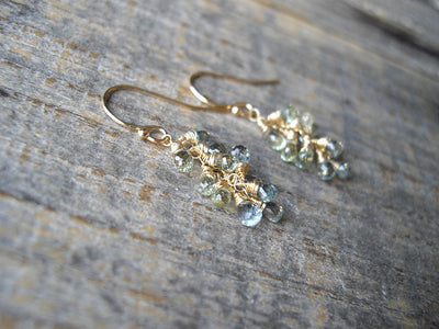 Briolette Cluster Earrings in Green Sapphire