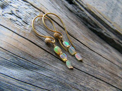 Long Opal Dangle Earrings