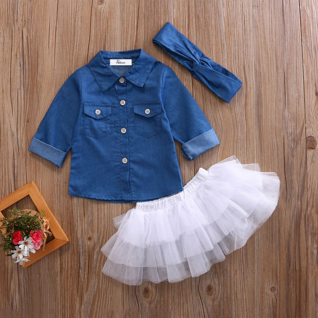 0-5T Babies Girl Summer Clothing Set Baby Girls Denim Shirt Top +Tutu Skirts+Headband 3pcs Outfits Sets