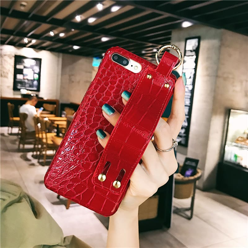 Plain With Wrist Strap Case For iPhone XS Max Case Leather Hard Back Cover Coque