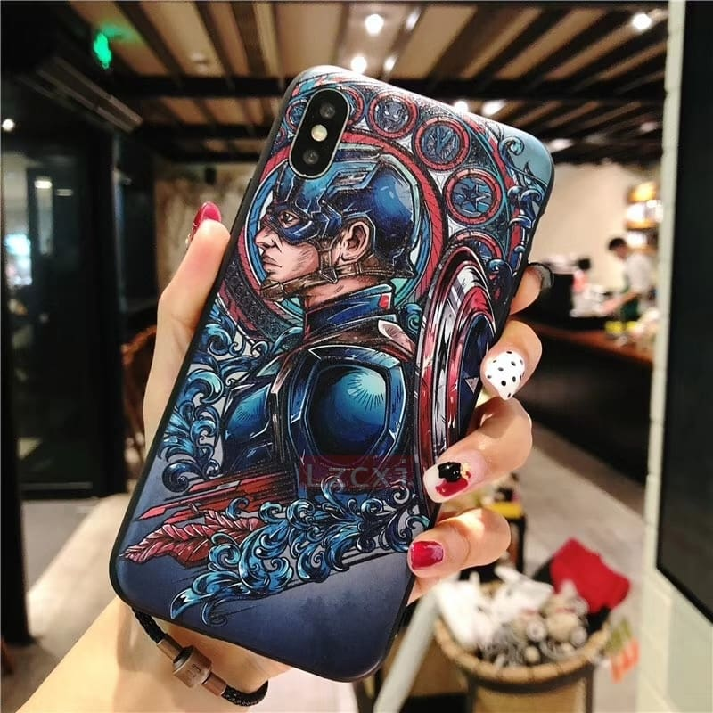 Fashion 3D Marvel Angry Embossed Captain America Iron Man Heroes Case for iPhone X XS Max XR 5 5S SE 6 6S 7 8 Plus Cover fundas