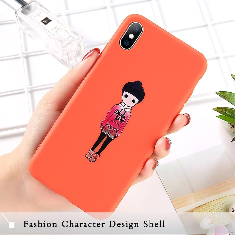Couples Love Heart Phone Case For iPhone 6 6S 8 7 Plus X XS XR Xs Max Cartoon Boy Girl Back Cover Soft TPU Silicone Cases