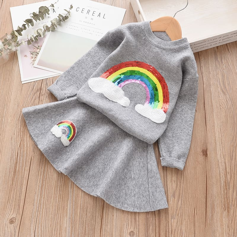 Babyinstar Baby Girls Set 2018 Autumn Rainbow Sequin Sweaters Pullover Full Sleeve Sweater + Skirt Kids Set For Girls Suits 2pcs