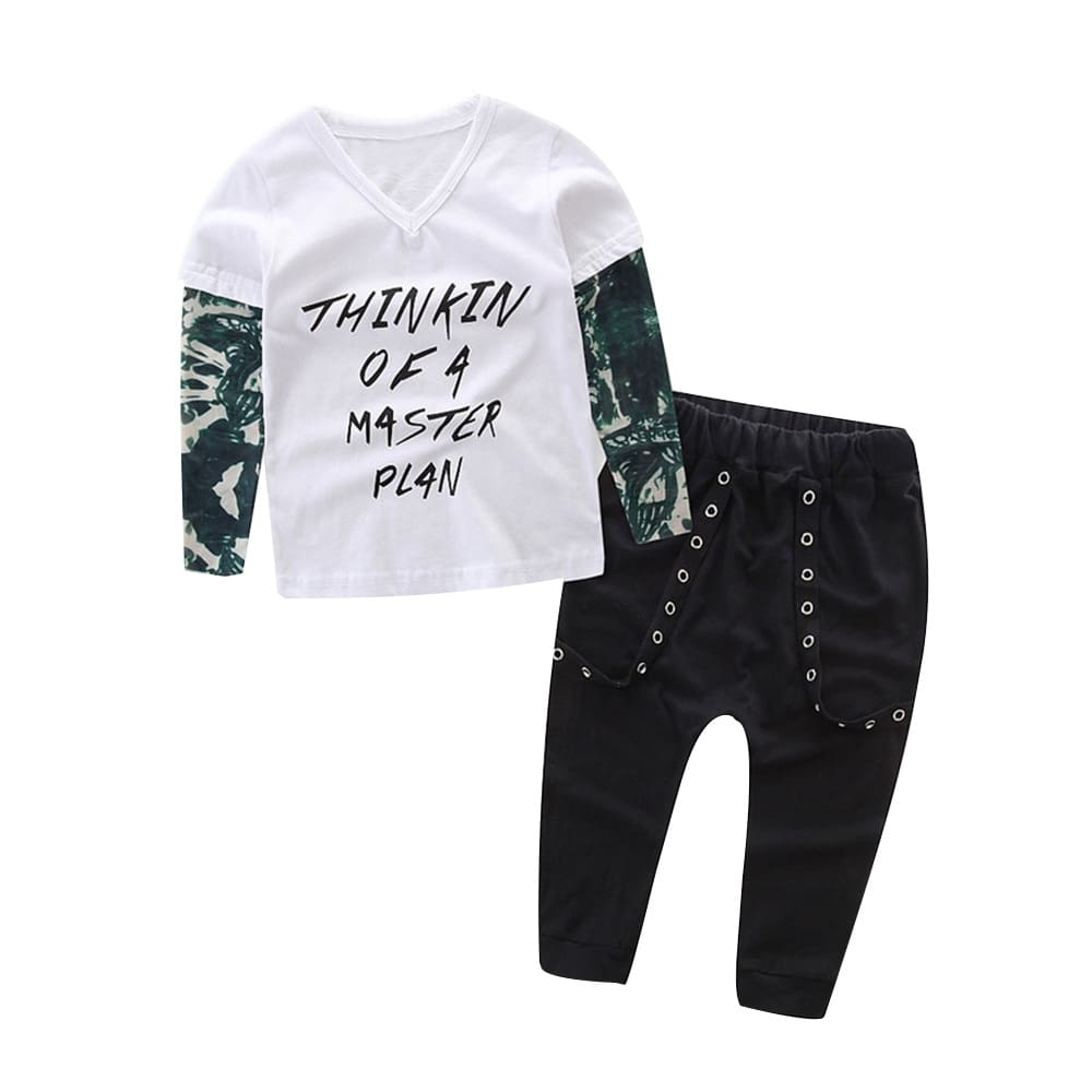 Newborn Infant Baby Boy Letter Tattoo T shirt Pants Outfits Clothes Set