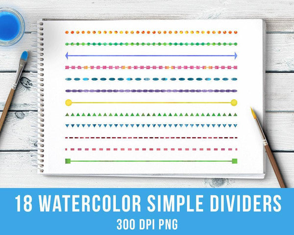 18 Watercolor Simple Line Dividers Clipart - The Digital Download Shop