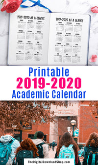 2019-2020 academic year at a glance printable for bullet journals and other planners.