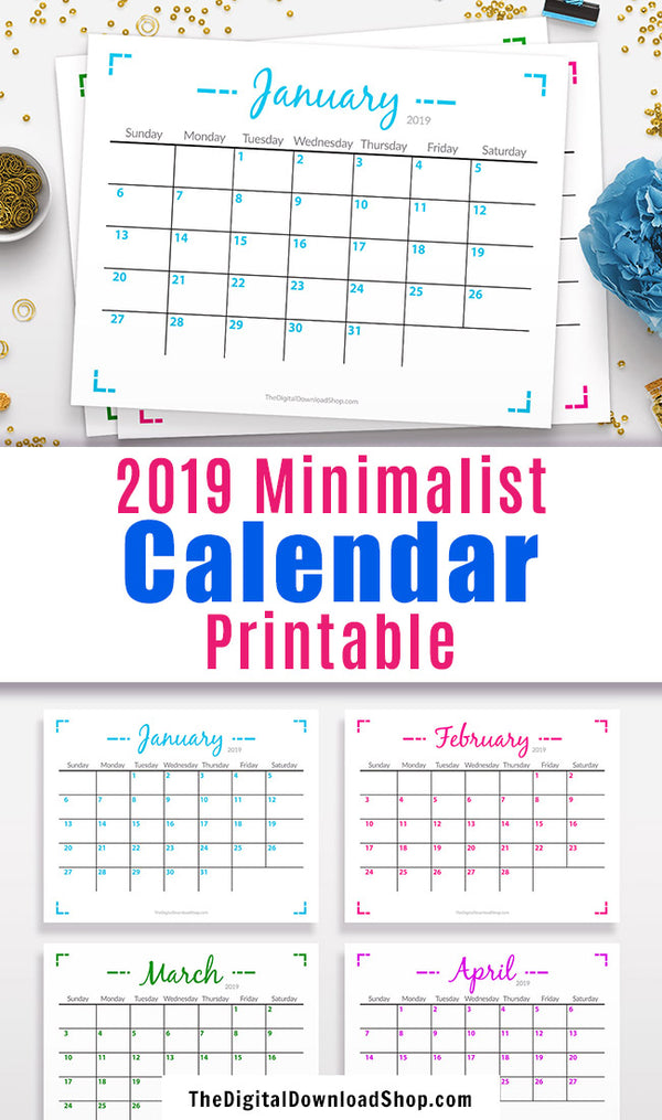 2019 Calendar Printable: Minimalist Geometric- This monthly calendar letter size printable would be perfect for hanging up by your desk, or putting in your binder! | 2019 monthly calendar, desk calendar printable, #calendar #2019Calendar #DigitalDownloadShop
