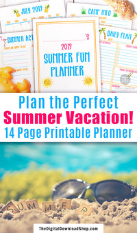 14 page 2019 summer activity planner printable with cute summer graphics. Parents, your kids' 2019 summer vacation is sure to be amazing when you plan it out with this summer planner!
