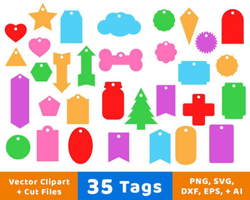 35 Tags Shapes SVG Vector Clipart