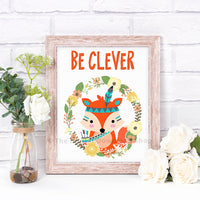 Be Clever Fox Nursery Printable- The Digital Download Shop