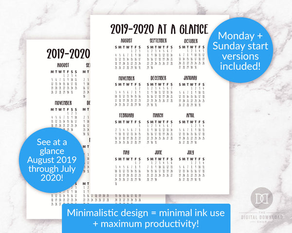 2019-2020 academic year at a glance printable for bullet journals and other planners. This August 2019 through July 2020 school calendar printable comes with Sunday + Monday start versions, in 4 sizes.