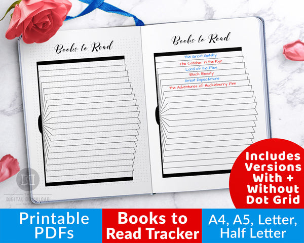 Books to read tracker printable for bullet journals and other planners. Use this reading list planner printable to keep track of all the books you want to read!