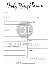 2 fitness planner printables (daily + weekly) for bullet journals and other planners. Use these exercise planner template printables to help you plan out your daily exercise, plan your meals, track your weight, and track your hydration! | workout planner, exercise planner, health and wellness, bujo printables, printable planner inserts, #fitness #planner #DigitalDownloadShop