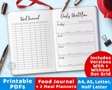 Food Journal Printable + 2 Meal Planner Printables