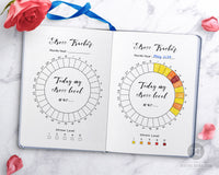 2 stress tracker printables for bullet journals and other planners. Use this stress tracking planner printable to keep a log of how your stress levels change day by day!