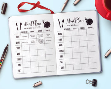 Bullet Journal Weekly Menu Planner Printable