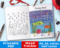 Fish Mood Tracker Printable- Color by Mood