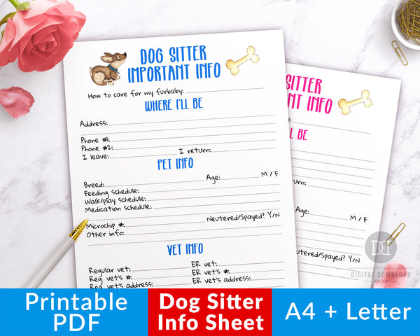 Dog sitter info sheet printable with adorable watercolor dog graphics. Use this pet sitter printable to give your dog sitter an easy reference for how to care for your furbaby!