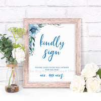 Kindly Sign Wedding Printable- Blue- The Digital Download Shop