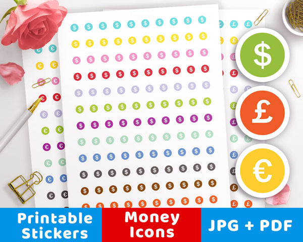 Money Icon Printable Planner Stickers- The Digital Download Shop